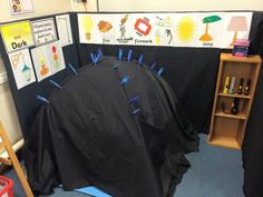 Light and Dark Topic. The dark cave Head Start Classroom, Owl Classroom, Classroom Art Projects, Science Experiments Kids, Science For Kids, 7 Days Of Creation, Role Play Areas, Nocturnal Animals, Black And White Canvas