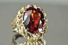 Antique Woven 10K Yellow Gold 9.32CT Corundum Red Sapphire Ring Sz 6.75