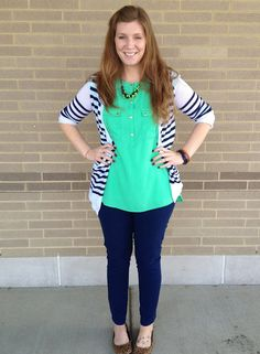 navy skinnies with greens and whites--easy color combo.