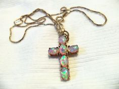 PRECIOUS OPAL CROSS PENDANT ON STERLING SILVER VERMEIL BOX LINK CHAIN  #Unbranded #ChainPendant