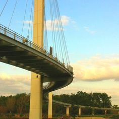 The Bob Kerrey Pedestrian Bridge, east of downtown Omaha over the Missouri river crossing into Council Bluffs Iowa.