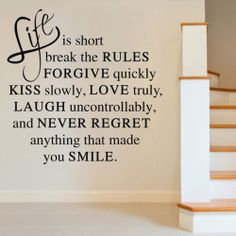 Life Is Short Break The Rules Wall Quote House Wall Sticker Decal Decor | eBay