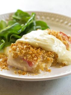 This easy Chicken Cordon Bleu recipe is layered with ham, cheese, and breadcrumbs. Served with a Dijon cream sauce, it's a great dinner for company! Easy Chicken Cordon Bleu, Cordon Bleu Recipe, Caramelized Bacon, Grilled Chicken Recipes, Kraft Recipes, Food Dishes, Main Dishes, Cooking, Hamburger Casserole