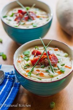 Loaded Baked Sweet Potato Soup | Pastured Kitchen
