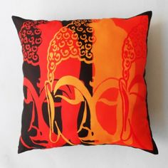 Buddha Faces Brown and Orange Cushion Cover