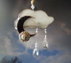 Mooncatcher Moon and Cloud Suncatcher Glass by JewelsInTheGarden, $29.00
