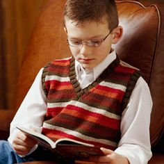 Boys Cables Knit Vest {Make this vest and your son will turn into a studious British child...}