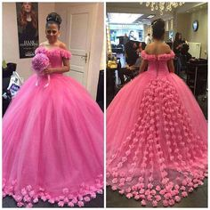 Off the Shoulder Engagement Dresses,Ball Gowns Prom Dresses,Bridal Dresses,Wedding Dresses Embellished with Flowers Wedding Dresses With Flowers, Pink Prom Dresses, Quinceanera Dresses, Wedding Party Dresses, Bridal Dresses, Gown Wedding, Bridal Gown, Prom Party, Formal Dresses