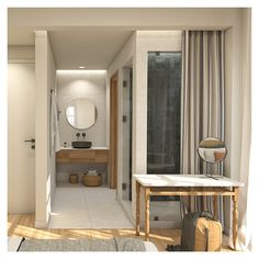 The use of glass, contributes to the integration of the bedroom area with the shower. Apartment Renovation, Kitchen Remodel, Shower, Interior Design, Bathroom, Architecture, Glass, Furniture, Home Decor