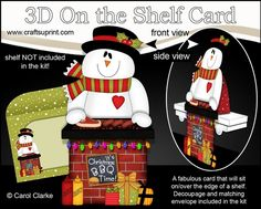 **COMING SOON** -  This lovely 3D Christmas BBQ Snowman On the Shelf Card kit will be available here within 12 hours - http://www.craftsuprint.com/carol-clarke/?r=380405