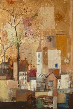 Artist Emmie van Biervliet - Mixed media on board 'La Penne Village Journey Trees'