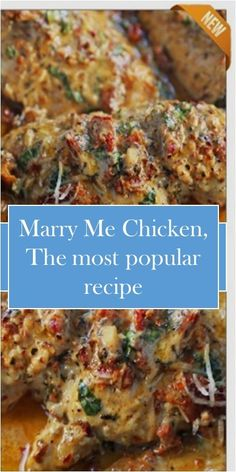 Marry Me Chicken, The most popular recipe You'll Need: teäspoon Thyme - Easy Chicken Recipes, Turkey Recipes, Meat Recipes, Dinner Recipes, Cooking Recipes, Healthy Recipes, Most Popular Recipes, Favorite Recipes, Food Obsession