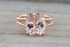 14k Rose Gold Elongated Oval Cut Pink Peach Morganite Split Shank Rope Engagement Promise Ring Rope Bead Vintage