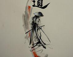 Samurai Seven Virtues of Bushido Original Ink by SamuraiArt