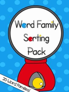 20 Word Families!!  Word Family Sorting Pack - Bubble Gum Theme for Kindergarten or First Grade!!