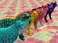"pooklet: "" kitteninthewindow: "" At last, I present to you a batch of custom cat furs! I have prepared 51 different colors, all in naturals and unnaturals. I was originally only going to. Sims 2 Pets, Kitten Eyes, Bright Color Schemes, Fur Accessories, Buy Pets, Pet Care, Kittens, Presents, Neon"