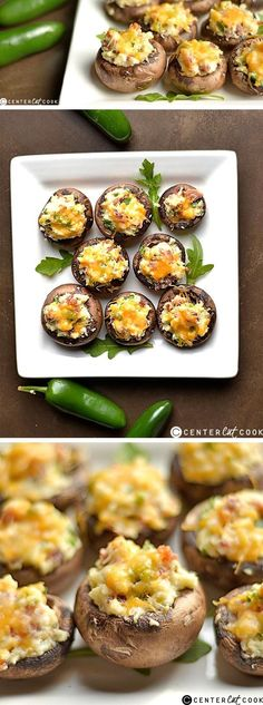 Jalapeño Popper Stuffed Mushrooms All of the yumminess of a JALAPEñO POPPER STUFFED inside a mushroom! Super easy and delicious appetizer that is sure to be a crowd pleaser! Appetizers For A Crowd, Appetizer Dips, Yummy Appetizers, Appetizer Recipes, Mushroom Appetizers, Party Appetizers, Dinner Recipes, Bacon Recipes, Cooking Recipes