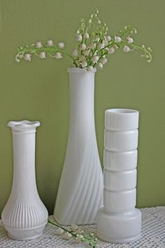 Milk Glass Vases Collection.  Set of Three Milk Glass Vases.  Various Design Milk Glass Collectible Wedding or Home Decor. by AnythingDiscovered on Etsy