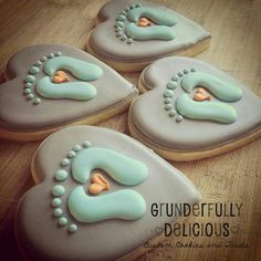 Cute little feet heart cookies