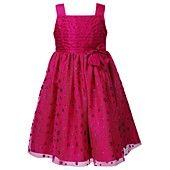 Sweet Heart Rose Dress, Little Girls Pleated Glitter-Dot Print