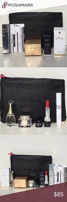 "NWT! Dior MAKEUP 5 Pc Gift Set! NWT! Dior MAKEUP 5 Pc Gift Set! Includes Dior Prestige La Creme Texture Essential 5ml 0.17oz, J'adore Eau De Parfum 5ml 0.17oz, Rouge Dior Compfort & Wear Lipstick in Matte 999 1.4g/0.04oz, Diorshow Maximizer 3D Triple Volume Plumping Lash Primer 1.5ml 0.05oz, PLUS Dior Textured Black Cosmetic Case w/Iconic Christian Dior Charm Zipper Pull Measures 5""L x 7 1/2""W All Wrapped in Classic Dior Print White Tissue Paper! Sephora Makeup"