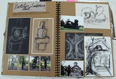 AL Fine Art, A3 Brown Sketchbook, YSP Trip Research, CSWK Theme 'Structures', Thomas Rotherham College, 2015-16