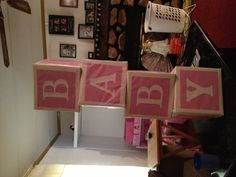 Baby Shower Decoration- Baby Blocks    You can play with ABC's, Girl, Boy, Baby. Anything you want! Great addition to the décor, and creative!