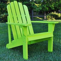 I love colour on my patio! Lime green Adirondack chair.
