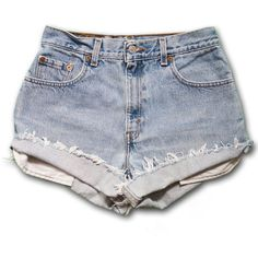 Vintage 90s Levi's light/medium Blue Wash High Waisted Rise Cut Offs... ($49) ❤ liked on Polyvore featuring shorts, black, women's clothing, high-waisted denim shorts, cut off shorts, cut-off jean shorts, denim cutoff shorts and high-waisted shorts