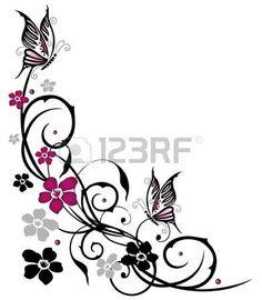 Flores abstractas con mariposas