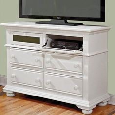 Have to have it. Cottage Traditions 4 Drawer Media Chest - Eggshell White - $756 @hayneedle