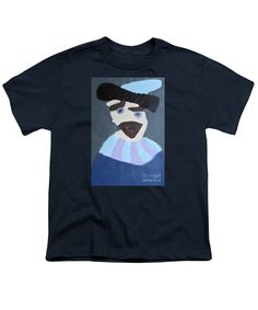 Patrick Francis Navy Blue Designer Youth T-Shirt featuring the painting Young Rembrandt In A Plumed Hat 2014 - After Rembrandt by Patrick Francis