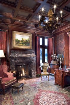 Formal home office with antique english desk, cherry wood paneling and coffered ceiling, period decor and fine art of a luxury Traditional English Manor in Dallas, Texas