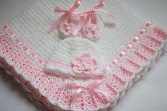Handmade, lovely crochet blanket, is an ideal covering for your baby.   Dimensions approx 34 x 34 Hat and booties size 0-3M   If you would like a different color or size, please contact us.  Feel free to buy!  Thank you for your interest in my items.
