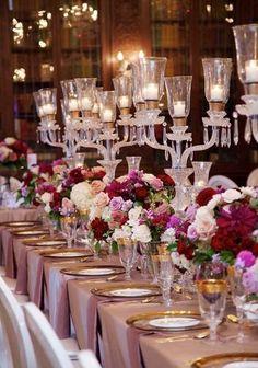 Long wedding table chandleirs