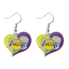 Los Angeles Lakers Swirl Heart Earrings