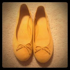 Mustard Flats Mustard suede like flats from old navy great condition other than small scuff on back left shoe as seen in pic! Old Navy Shoes Flats & Loafers