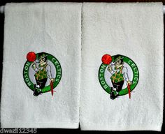 BOSTON CELTICS - IRISH - BASKETBALL - 2 EMBROIDERED HAND TOWELS by Susan