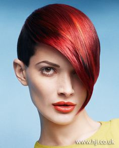 Asymmetric red crop    Hairstyle by: Leonardo Rizzo  Hairstyle picture by: Peter Gehrke  Salon: Sanrizz  Location: London #HJColour