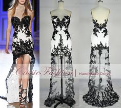 Strapless Hilow Gown Rich Beaded Lace Applique by CassieFashion, $168.00
