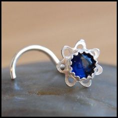 Flower Nose Stud  How Blue Can Blue Be...Sterling by RockYourNose, $24.95