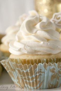 White Chocolate Raspberry Champagne Cupcakes