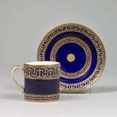 Tableware: A Rare Sèvres 'Jewellled' Porcelain Cup and Saucer, circa 1780-82