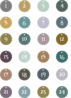 a sheet of labels numbered from 1 to 24 to classify gift packages of advent calendar Winter Christmas, Christmas Holidays, Christmas Crafts, Xmas, Free Printable Numbers, Printable Tags, Calendar Numbers, Christmas Calendar, Advent Calenders