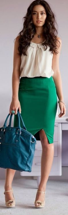 Summer Work Outfit casual style - nice colour bag