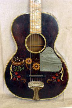 Stella Deluxe Decalcomania Concert Guitar, circa 1930