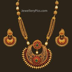 Antiq inspired gold necklace with chand pendent - Latest Jewellery Designs Jewelry Design Earrings, Gold Earrings Designs, Necklace Designs, Jewelry Art, Gold Jewelry, Fashion Jewelry, Jewelery, Gold Necklaces, Jewellry Box