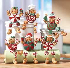 6Pc Gingerbread Candy Collectible Christmas Decor Sitters By Collections Etc