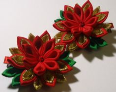 Items similar to Pair of Handmade Butterfly hair clips made in the technique of Kanzashi from satin ribbon on Etsy