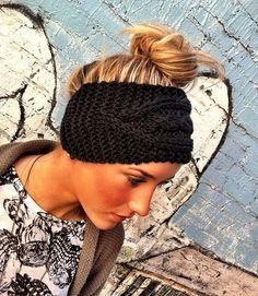 Stretchy Headband - Plain Cable Knit Headband - Ear Warmer Headband head bands Hair Coverings $18.50